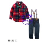 Baby Bear Plaid Red Shirt Set Jeans with Suspender  (BB17201)