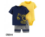 Carter Baby Set 3in1 Shirt Navy Romper Stripe Yellow CTR29N