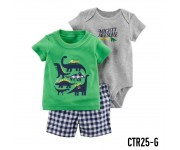 Carter Baby Set 3in1 Set Green Dinosaur CTR25G
